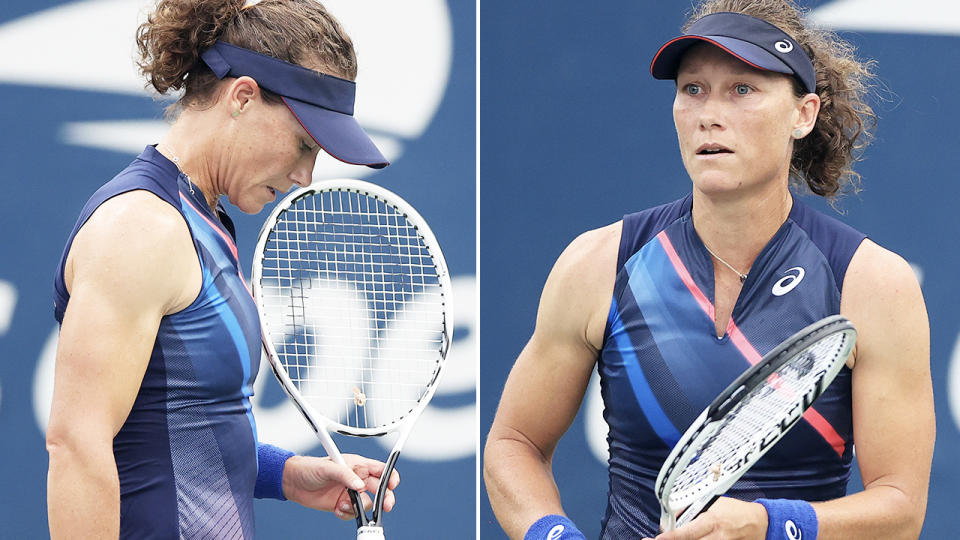 Sam Stosur, pictured here in action against Anett Kontaveit at the US Open.