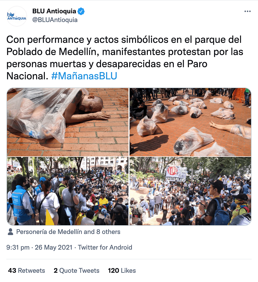 """<div class=""""paragraphs""""><p>The tweet shared by a Medellín- based radio channel mentioned that the performance took place at Poblado park.</p></div>"""