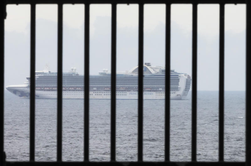The Ruby Princess cruise ship is seen from Kurnell National Park in Sydney, Thursday, April 2, 2020. The vessel will be subject to a criminal investigation.