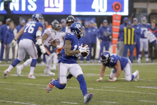 New York Giants wide receiver Odell Beckham threw his second TD pass of the season. (AP)