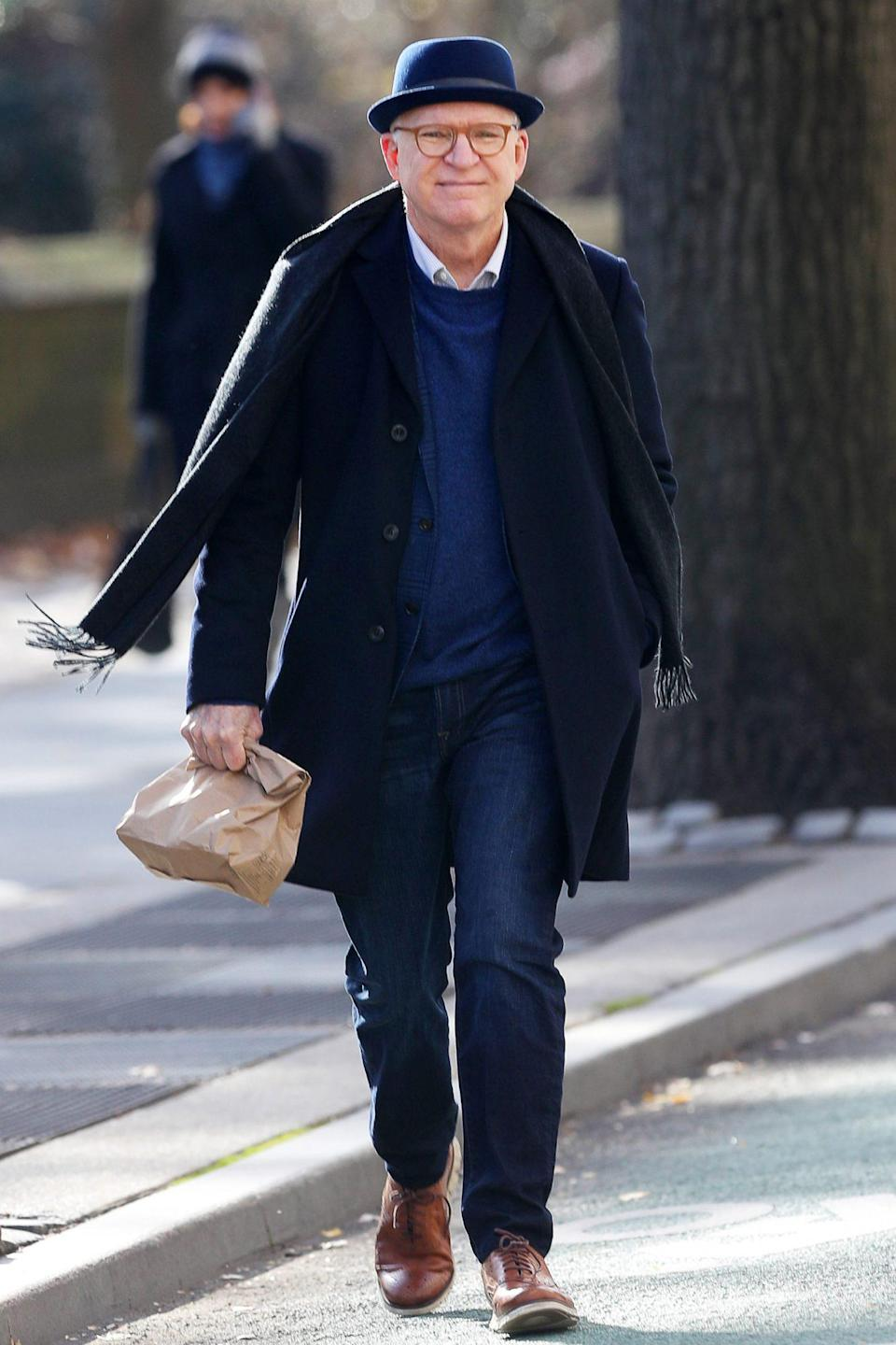 <p>Steve Martin is seen on the set of Hulu's<em> Only Murderers in the Building</em> for the first time on Thursday in N.Y.C. </p>