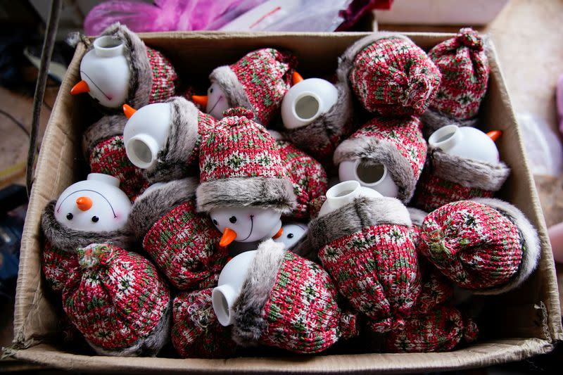 Christmas products are seen at Fuye toy factory following the coronavirus disease (COVID-19) outbreak in Yiwu