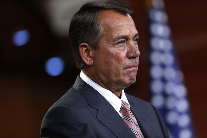 House Speaker John Boehner of Ohio listens to a reporter's question during a news conference on Capitol Hill in Washington, Thursday, May 23, 2013. (AP Photo/Charles Dharapak)