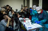 Medical pesonnel in Nitra, Slovakia get ready for some the first people in the country to receive the novel coronavirus vaccine