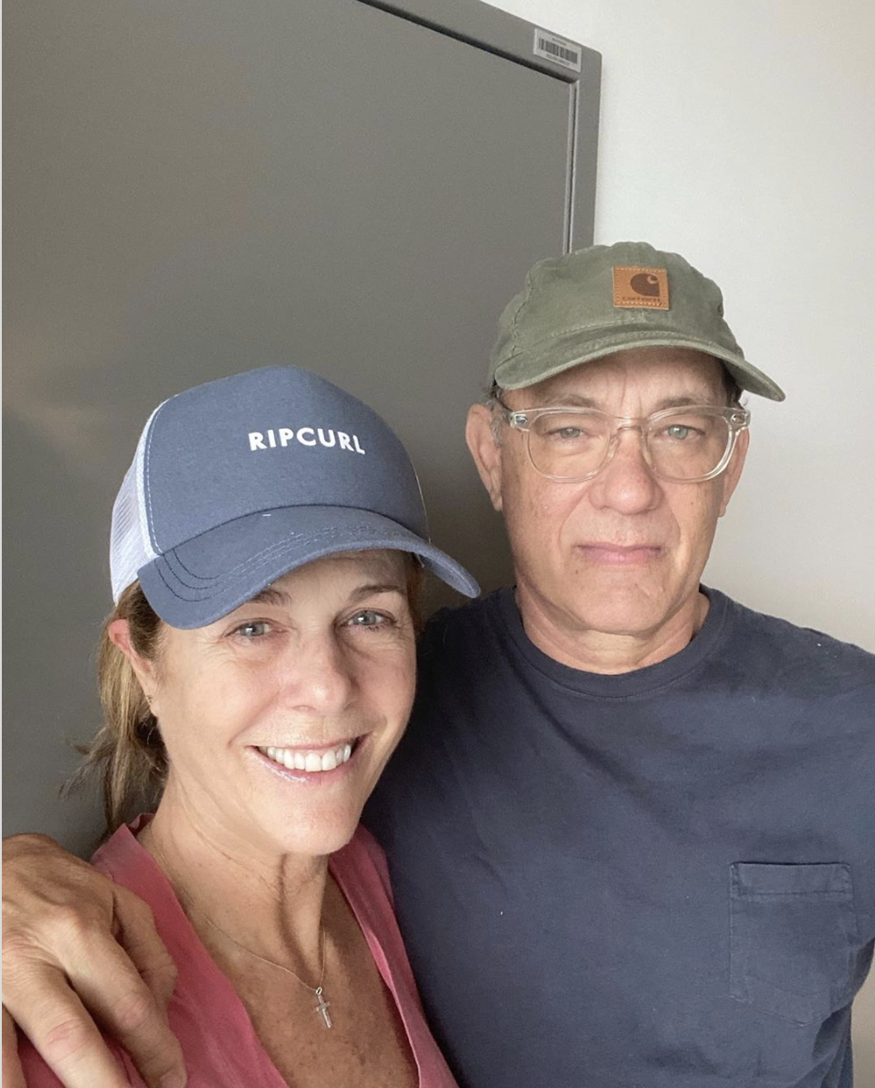 Rita Wilson, pictured with husband Tom Hanks, asked fans to help create a music playlist while the couple is battling the coronavirus. (Screenshot: Instagram/Tom Hanks)