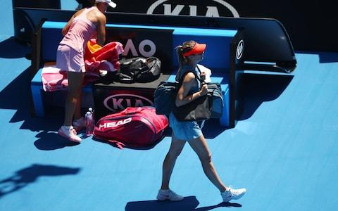 <span>Sharapova was jeered by fans after her return following the second set</span> <span>Credit: Getty Images </span>