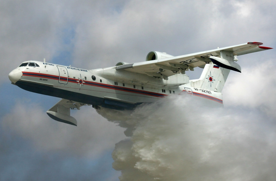 """<p>Designed to fight fires, the amphibious Altair has a boat-like belly and twin turbofans mounted high above its wings. The Be-200's tanks can <a href=""""https://www.aerospace-technology.com/projects/beriev_be-200/"""" rel=""""nofollow noopener"""" target=""""_blank"""" data-ylk=""""slk:deploy 12 tons of water over a burning target"""" class=""""link rapid-noclick-resp"""">deploy 12 tons of water over a burning target</a> and then the plane can touch down on a lake or at sea, picking up another load in just 14 seconds. The versatile plane can also be configured for cargo, passengers, or even be used as a flying ambulance.</p>"""