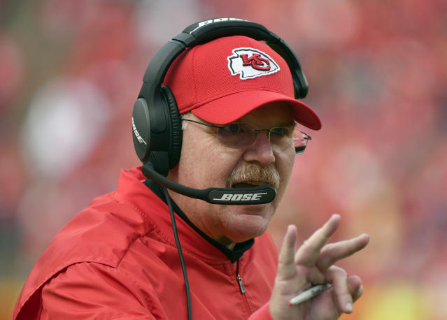 Kansas City Chiefs head coach Andy Reid will have coordinator Matt Nagy call the offense on Sunday. (AP)