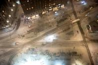 <p>A view from above on New York City's Upper West Side as the flakes fall.</p>
