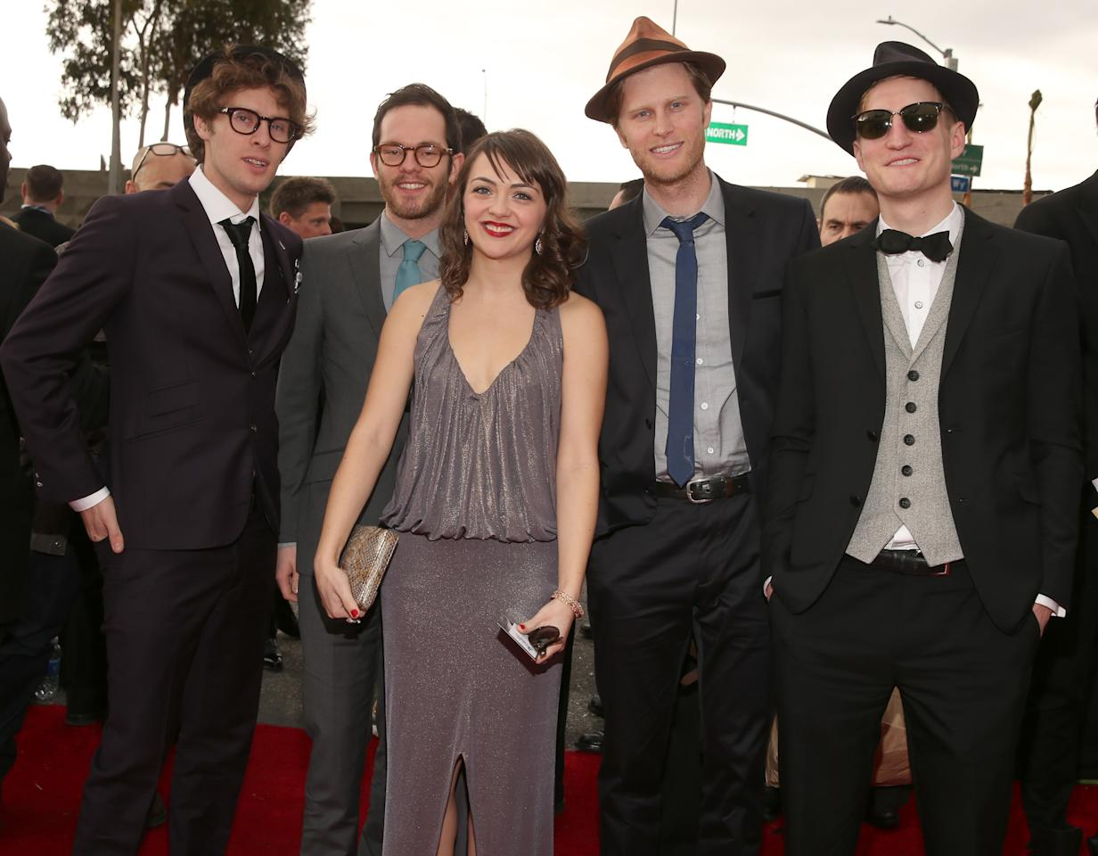 LOS ANGELES, CA - FEBRUARY 10:  (L-R) Musicians Stelth Ulvang, Ben Wahamaki, Neyla Pekarek, Wesley Schultz and Jeremiah Fraites of The Lumineers attend the 55th Annual GRAMMY Awards at STAPLES Center on February 10, 2013 in Los Angeles, California.  (Photo by Christopher Polk/Getty Images for NARAS)