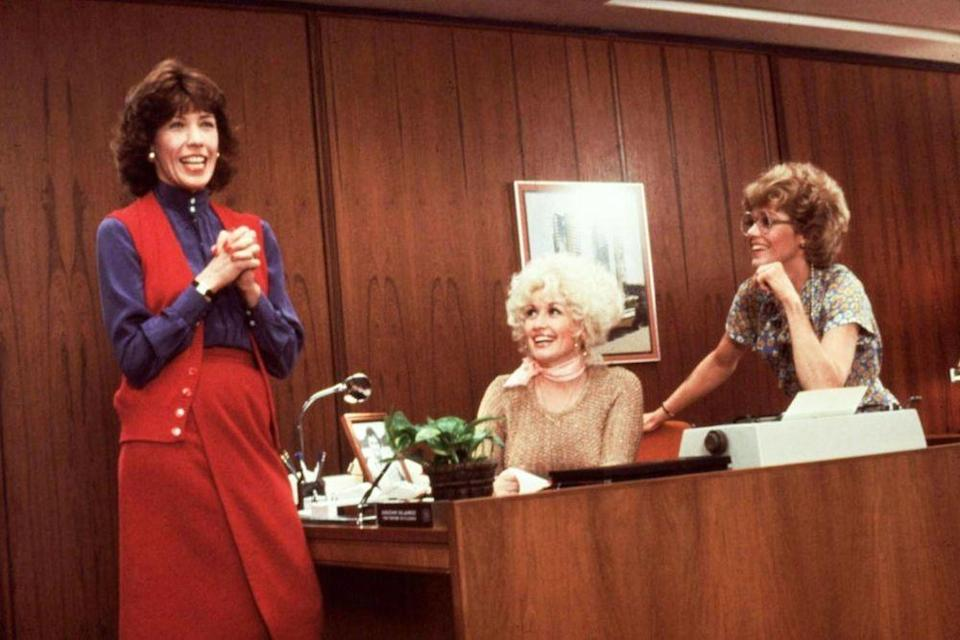 Jane Fonda, Dolly Parton and Lily Tomlin in 9 to 5 (Credit: Fox)