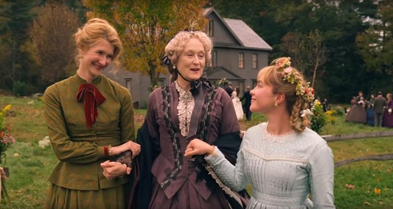 Laura Dern as Marmee, Meryl Streep as Aunt March, and Florence Pugh as Amy in Little Women.