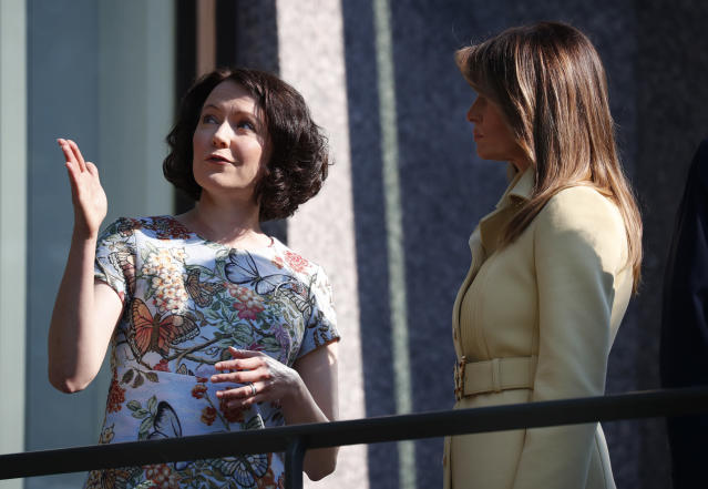 Both first ladies wore butterfly-themed outfits. (Photo: AP Photo/Pablo Martinez Monsivais)