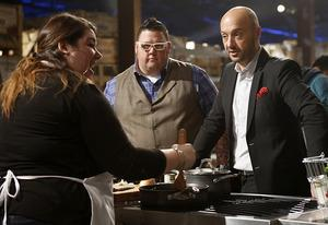 Graham Elliot and Joe Bastianich with a contestant | Photo Credits: Greg Gayne/Fox