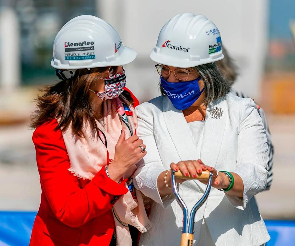 President of Carnival Cruise Line Christine Duffy, left, and Miami-Dade County Mayor Daniella Levine Cava attend a groundbreaking ceremony for Carnival Cruise Line's Terminal F at PortMiami in Miami, Florida, on Friday, Jan. 29, 2021.