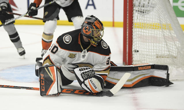 Anaheim Ducks goaltender Ryan Miller looks back after a goal by Los Angeles Kings center Jeff Carter during the second period of an NHL hockey game Saturday, March 23, 2019, in Los Angeles. (AP Photo/Mark J. Terrill)