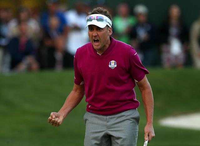 MEDINAH, IL - SEPTEMBER 29: Ian Poulter of Europe celebrates after making birdie on the 16th green during day two of the Afternoon Four-Ball Matches for The 39th Ryder Cup at Medinah Country Club on September 29, 2012 in Medinah, Illinois. (Photo by Mike Ehrmann/Getty Images)