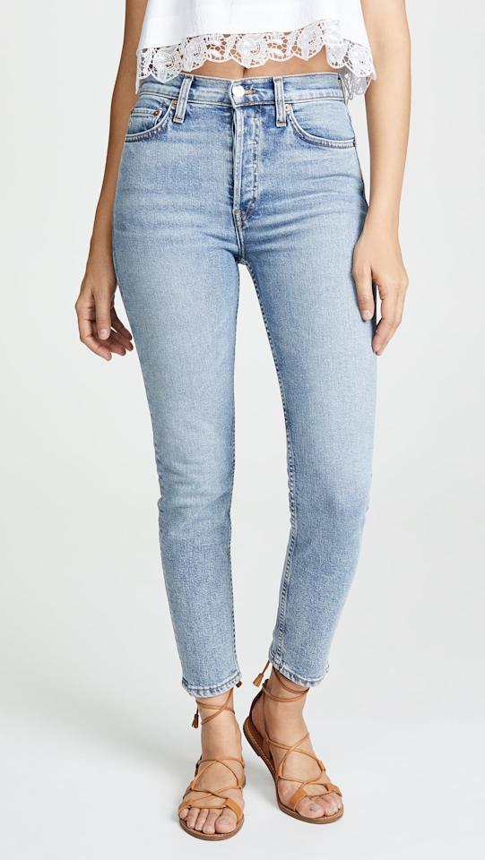 "<p>""These <a href=""https://www.popsugar.com/buy/ReDone-High-Rise-Ankle-Crop-Jeans-488482?p_name=Re%2FDone%20High%20Rise%20Ankle%20Crop%20Jeans&retailer=shopbop.com&pid=488482&price=260&evar1=fab%3Aus&evar9=46586848&evar98=https%3A%2F%2Fwww.popsugar.com%2Ffashion%2Fphoto-gallery%2F46586848%2Fimage%2F46586851%2FReDone-High-Rise-Ankle-Crop-Jeans&list1=shopping%2Cdenim%2Ceditors%20pick%2Ccomfortable%20clothes&prop13=api&pdata=1"" rel=""nofollow"" data-shoppable-link=""1"" target=""_blank"" class=""ga-track"" data-ga-category=""Related"" data-ga-label=""https://www.shopbop.com/high-rise-ankle-crop-jeans/vp/v=1/1543628224.htm?folderID=50796&amp;fm=other-shopbysize-viewall&amp;os=false&amp;colorId=12E66"" data-ga-action=""In-Line Links"">Re/Done High Rise Ankle Crop Jeans</a> ($260) have the look of a vintage jean, but they're made with stretch. I find myself reaching for them constantly."" - India Yaffe, assistant editor, Shop</p>"