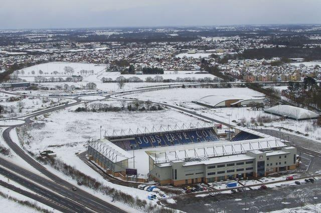 Snowy conditions at Colchester United football ground
