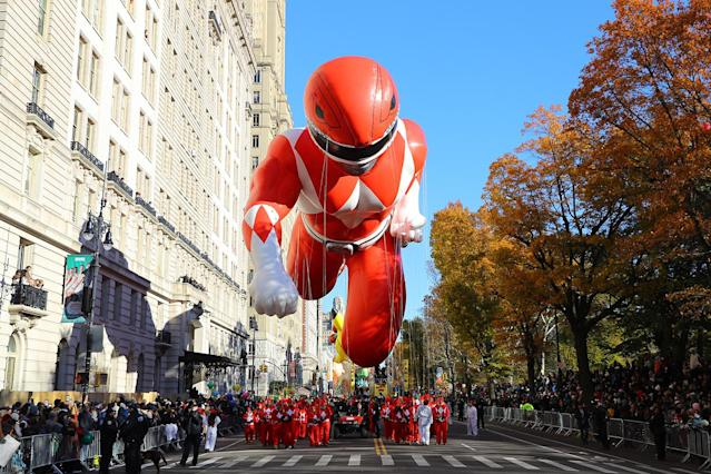 <p>The Red Mighty Morphin Power Ranger balloon is led down Central Park West in the 91st Macy's Thanksgiving Day Parade in New York, Nov. 23, 2017. (Photo: Gordon Donovan/Yahoo News) </p>