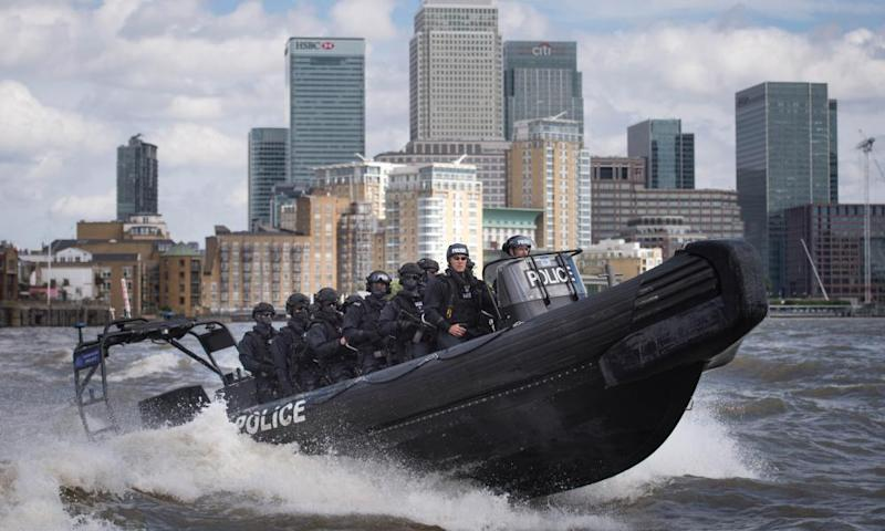 Armed Metropolitan police counter terrorism officers during an exercise on the Thames.