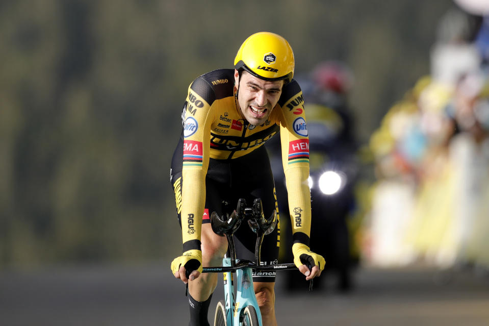 LA PLANCHE, FRANCE - SEPTEMBER 19: Arrival / Tom Dumoulin of The Netherlands and Team Jumbo - Visma / during the 107th Tour de France 2020, Stage 20 a 36,2km Individual Time Trial stage from Lure to La Planche Des Belles Filles 1035m / ITT / #TDF2020 / @LeTour / on September 19, 2020 in La Planche, France. (Photo by Christophe Ena - Pool/Getty Images)