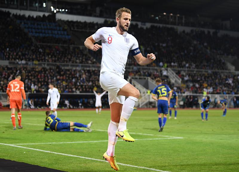 Harry Kane of England celebrates after scoring his team's second goal. (Credit: Getty Images)