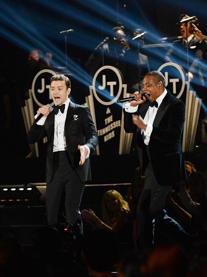 Justin Timberlake and Jay-Z perform at the 55th Annual Grammy Awards at the Staples Center in Los Angeles, CA on February 10, 2013.