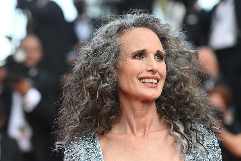 Andie MacDowell, 63, is embracing her grey hair. (Photo by Kate Green/Getty Images)