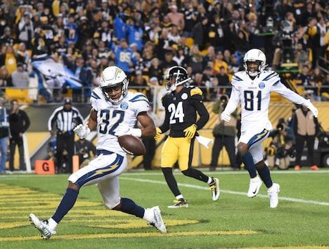 <span>Justin Jackson scores a fourth-quarter touchdown in the Chargers' comeback win over the Packers</span> <span>Credit: Philip G. Pavely/USA TODAY </span>