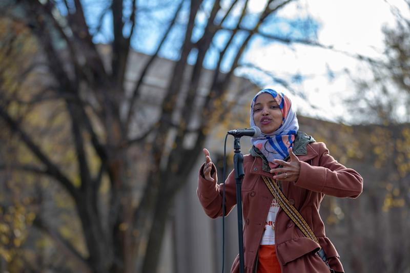 Ilhan Omar, a Muslim Somali-American running for Minnesota's 5th Congressional District, campaigns at the University of Minnesota in Minneapolis on Nov. 2. An October report from Muslim Advocates found dozens of candidates nationwide who ran on anti-Muslim platforms. (Photo: KEREM YUCEL via Getty Images)