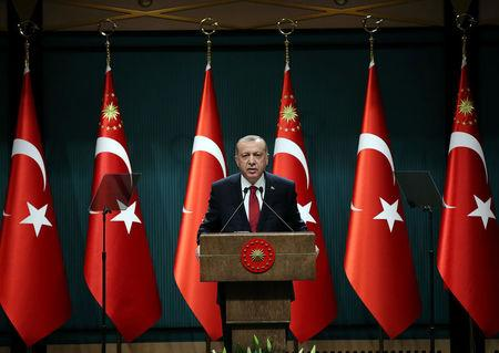 Turkish President Tayyip Erdogan addresses a news conference at the Presidential Palace in Ankara
