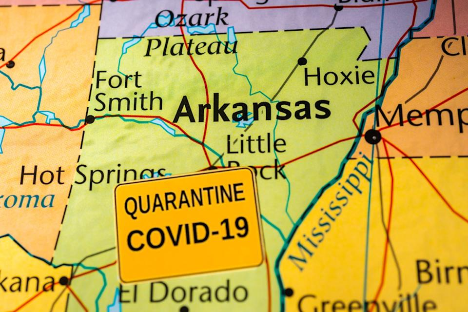 map shows Arkansas with COVID-19 label