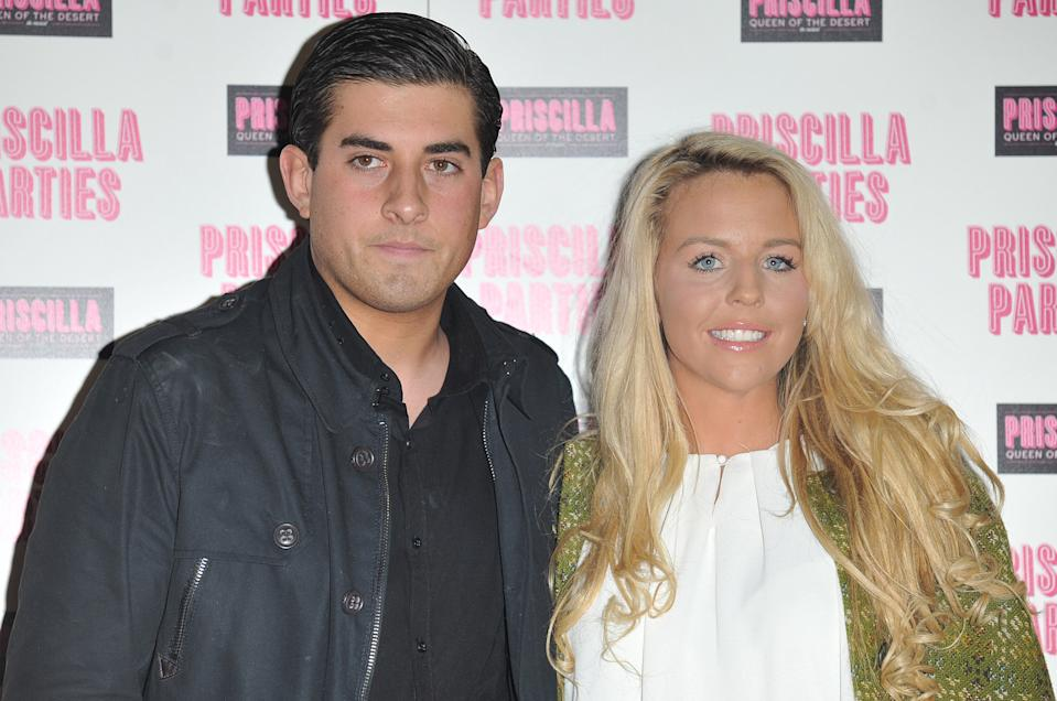 LONDON, UNITED KINGDOM - JANUARY 24: James Argent and Lydia Bright of TV show 'The Only Way Is Essex' arrives for the Priscilla Parties - Launch Party at the Palace Theatre, Shaftsbury Avenue on January 24, 2011 in London, England. (Photo by Stuart Wilson/Getty Images)