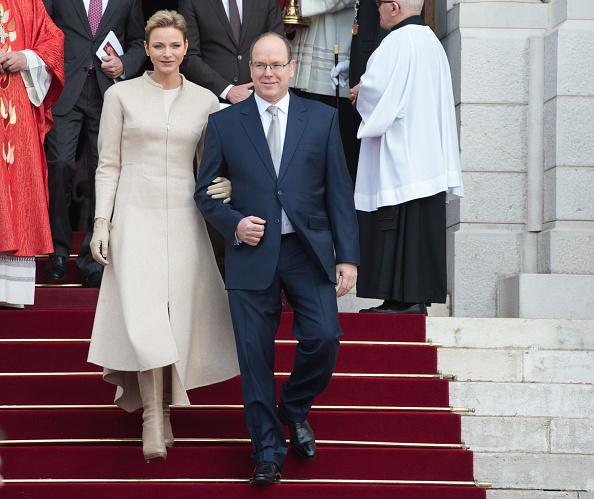 <p>MONACO – JANUARY 27: Prince Albert II of Monaco and Princess Charlene Of Monaco leave the Cathedral of Monaco after a mass during the ceremonies of the Sainte-Devote on January 27, 2017 in Monaco, Monaco. Sainte devote is the patron saint of The Principality Of Monaco and France's Mediterranean Corsica island. (Photo by Thierry Orban/Getty Images)</p>