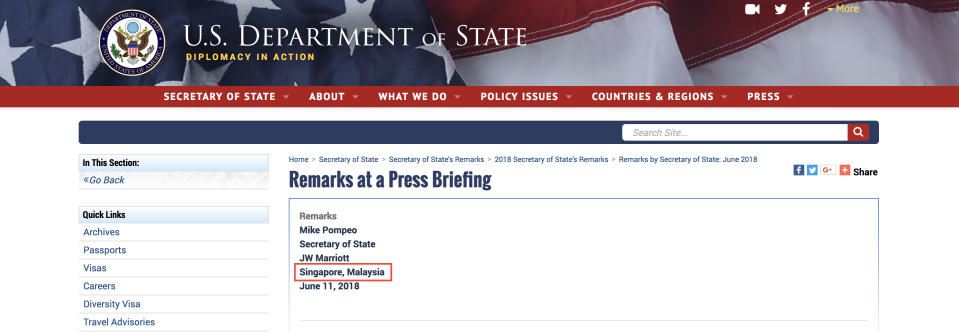 PHOTO: Screenshot from US State Department websites