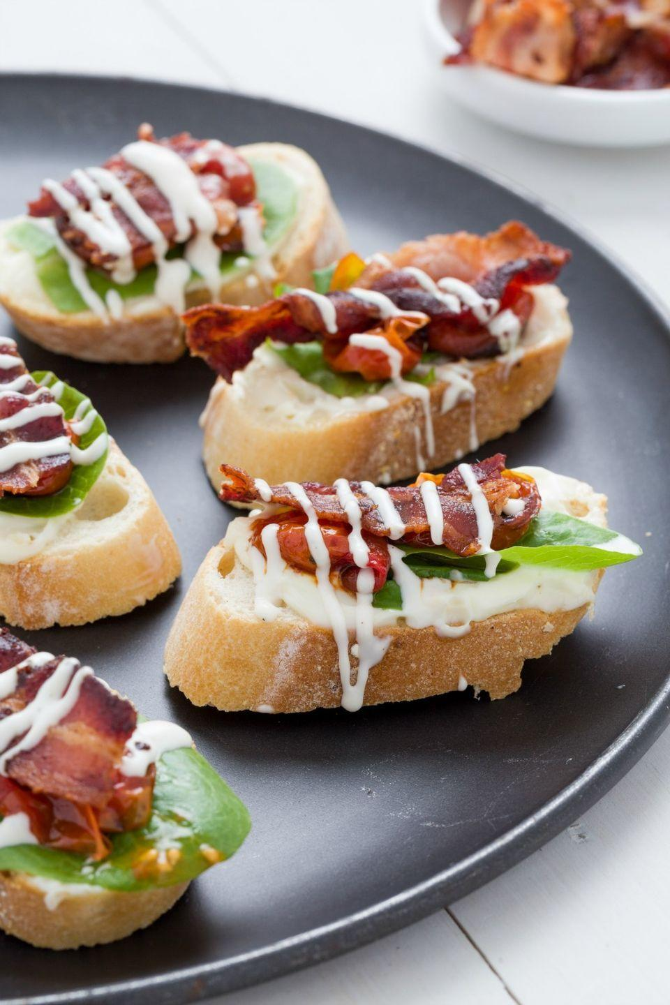 <p>You love a BLT sandwich, so why not take the ingredients and turn them into an amazingly topped toast? Don't forget that ranch drizzle.</p>