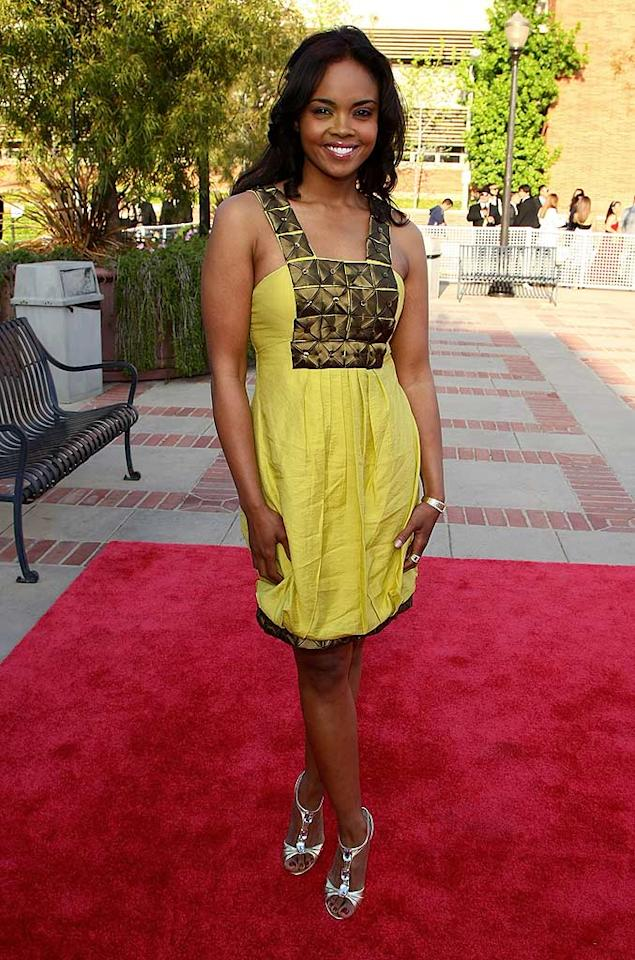 "Sharon Leal of ""Dreamgirls"" looks radiant in her yellow Sue Wong dress. Like apl.de.ap, Sharon is half black, half-Filipino. Alberto Rodriguez/<a href=""http://www.gettyimages.com/"" target=""new"">GettyImages.com</a> - April 23, 2008"