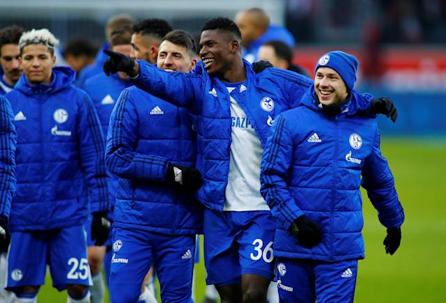 Soccer Football - Bundesliga - Bayer Leverkusen vs Schalke 04 - BayArena, Leverkusen, Germany - February 25, 2018 Schalke's Breel Embolo celebrates with teammates after the match REUTERS/Thilo Schmuelgen DFL RULES TO LIMIT THE ONLINE USAGE DURING MATCH TIME TO 15 PICTURES PER GAME. IMAGE SEQUENCES TO SIMULATE VIDEO IS NOT ALLOWED AT ANY TIME. FOR FURTHER QUERIES PLEASE CONTACT DFL DIRECTLY AT + 49 69 650050