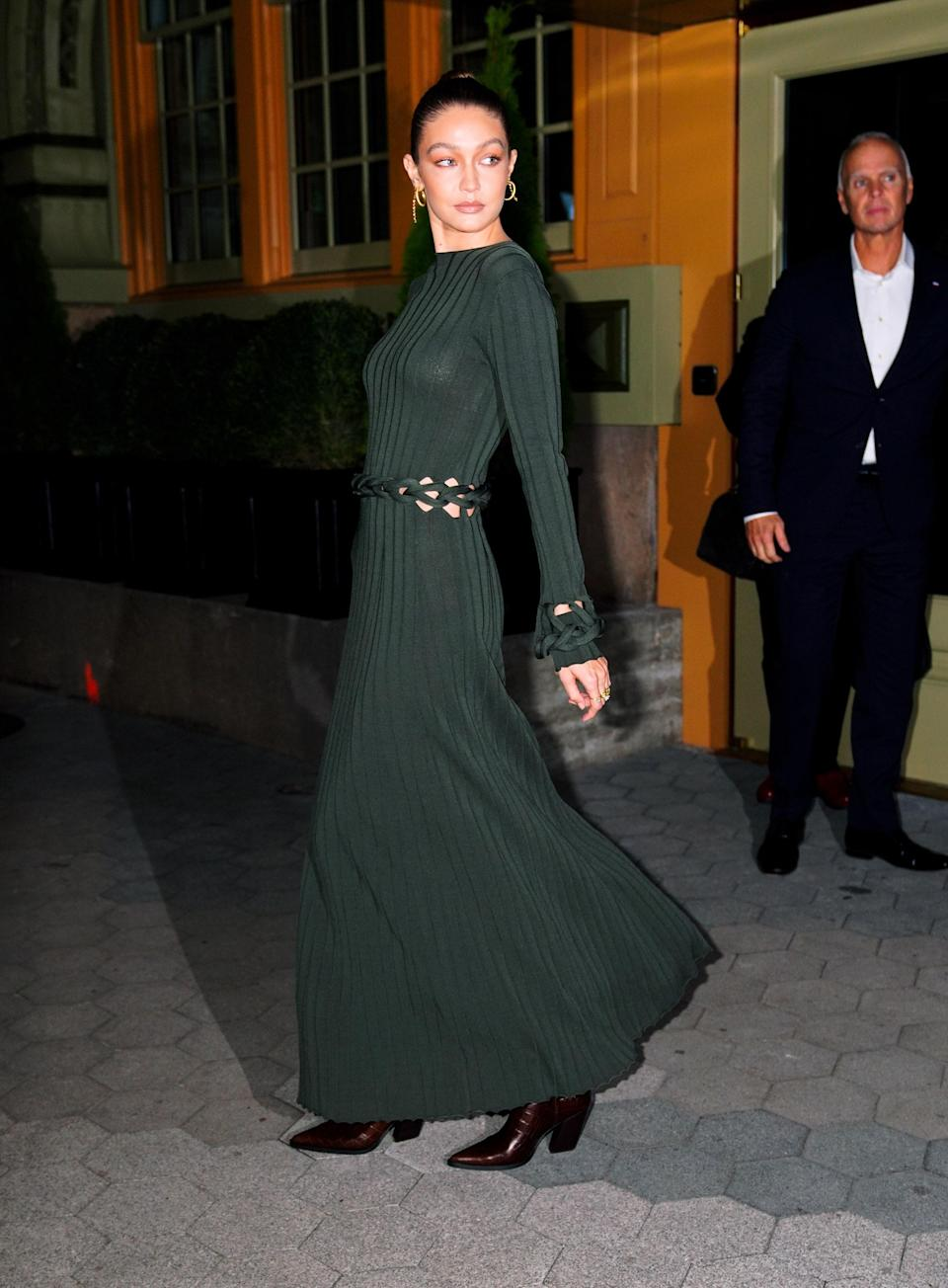 Gigi attended the CFDA / Vogue Fashion Fund 2019 Awards wearing this green Dion Lee dress.