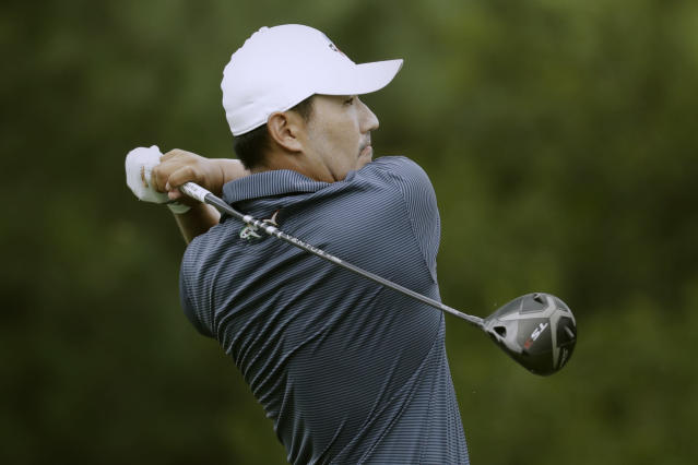 Sung Kang of South Korea, watches his tee shot on the 17th hole during the first round of the World Golf Championship-FedEx St. Jude Invitational Thursday, July 30, 2020, in Memphis, Tenn. (AP Photo/Mark Humphrey)