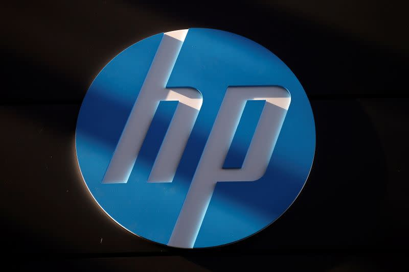 FILE PHOTO: A Hewlett-Packard logo is seen at the company's Executive Briefing Center in Palo Alto