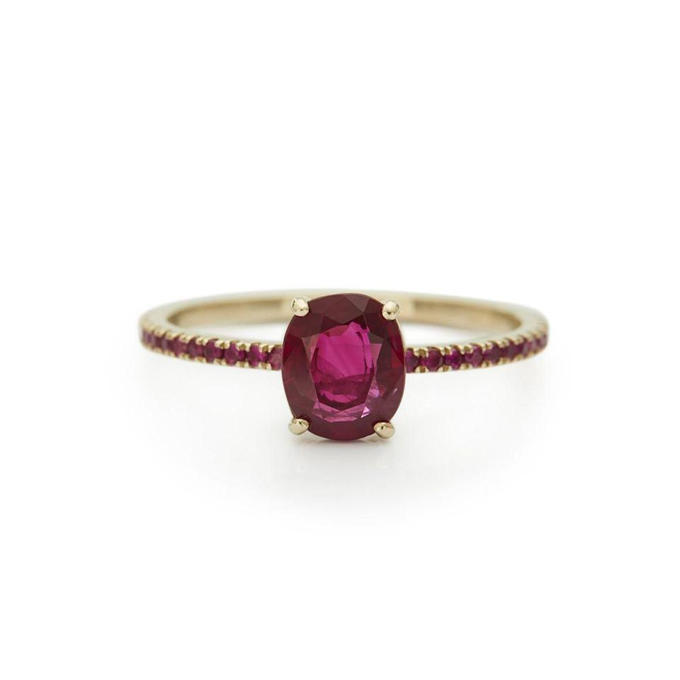 "<p>Pinkish rubies rather than deep red ones have a romantic, feminine feel. This dainty ring is made even sweeter by its ruby pavé band.</p><p><em>Pigeon blood red ruby with pave band in 18K yellow gold, $2,495, </em><em><a href=""https://yicollection.com/"" rel=""nofollow noopener"" target=""_blank"" data-ylk=""slk:yicollection.com"" class=""link rapid-noclick-resp"">yicollection.com</a></em><em>.</em></p><p><a class=""link rapid-noclick-resp"" href=""https://yicollection.com/products/ruby-ring-2?_pos=3&_sid=9d0edfb3d&_ss=r"" rel=""nofollow noopener"" target=""_blank"" data-ylk=""slk:SHOP"">SHOP</a> </p>"