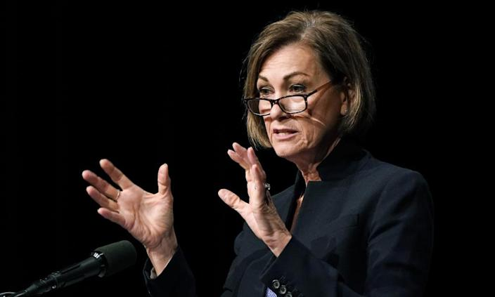 Kim Reynolds speaks about Iowa's response to the coronavirus outbreak during a news conference Thursday.