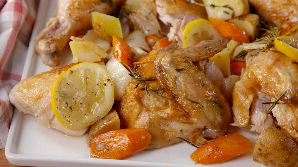 """<p>Chicken is also oftentimes found at Passover as an accompaniment to brisket. It's easy to weave even more veggies into it, as root vegetables will roast nicely with the meat. </p><p>Get the recipe from <a href=""""https://www.delish.com/cooking/recipe-ideas/recipes/a51763/bundt-pan-roast-chicken-recipe/"""" rel=""""nofollow noopener"""" target=""""_blank"""" data-ylk=""""slk:Delish"""" class=""""link rapid-noclick-resp"""">Delish</a>.</p>"""
