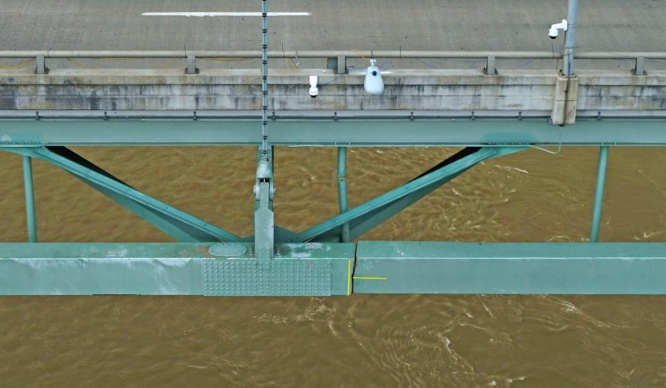 The crack that shut down the Hernando de Soto Bridge was photographed by a drone on May 16,.
