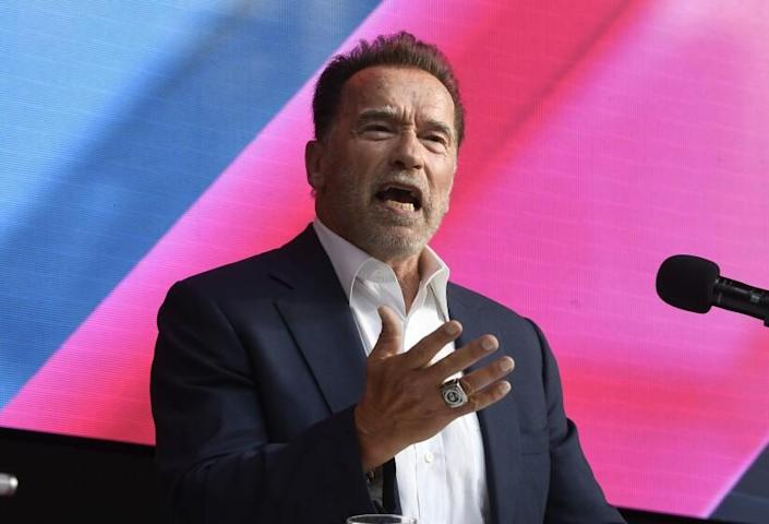 Arnold Schwarzenegger talks about Digital Sustainability during the Digital X conference in Cologne, Germany, on Sept. 7.