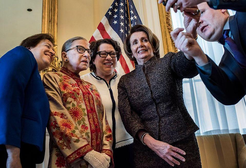 "<p>U.S. House of Representatives Minority Leader Nancy Pelosi (right) takes a selfie with Supreme Court Justices Elena Kagan (left), Ginsburg, and Sonia Sotomayor (middle) at the Capitol before a reception to honor the women Supreme Court justices. (Sotomayor's Supreme Court appointment was confirmed in August 2009, and Kagan's a year later.)</p><p>Of her popularity amongst the public, Ginsburg <a href=""https://www.nytimes.com/2018/02/08/us/politics/ruth-bader-ginsburg.html?rref=collection%2Ftimestopic%2FGinsburg%2C%20Ruth%20Bader&login=email&auth=login-email"" rel=""nofollow noopener"" target=""_blank"" data-ylk=""slk:once said"" class=""link rapid-noclick-resp"">once said</a>, ""I am soon to be 85 and everyone wants to take their picture with me.""</p>"