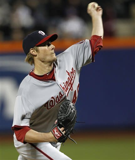 Washington Nationals starting pitcher Ross Detwiler delivers against the New York Mets in the second inning of a baseball game in New York, Tuesday, April 10, 2012. (AP Photo/Kathy Willens)