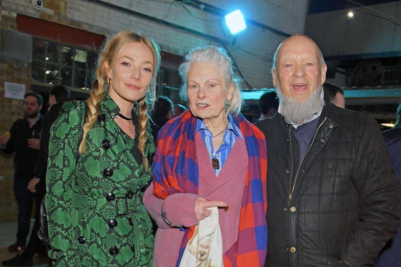 Sculpture show attendees: Clara Paget, Vivienne Westwood & Michael Eavis (David M. Benett/Dave Benett/Getty Images)